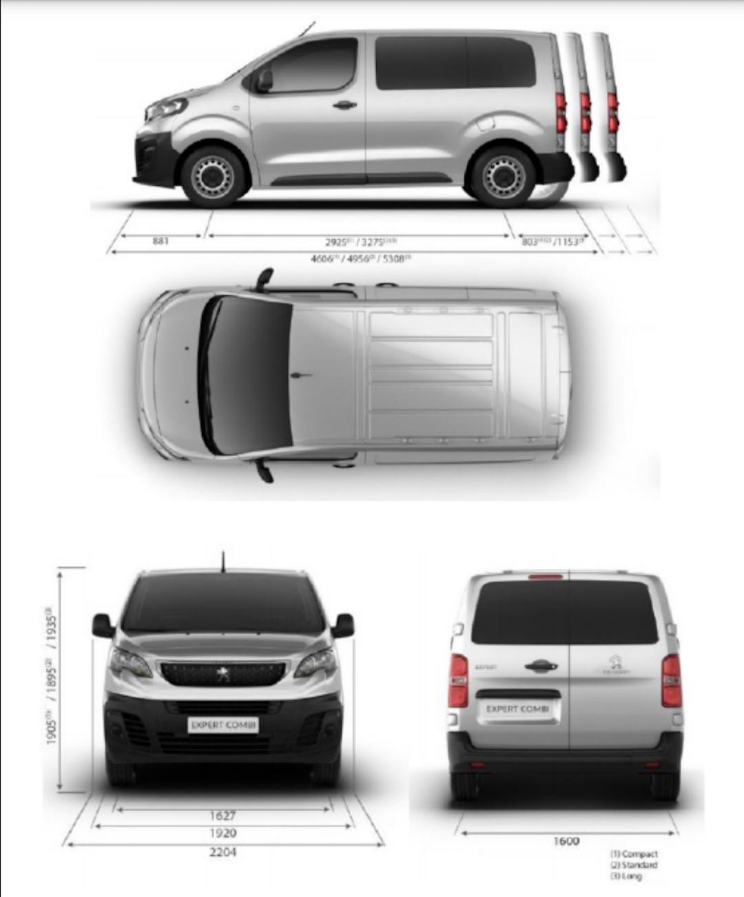 dimensões do Peugeot Expert Combi